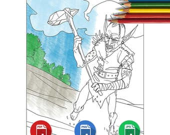 Coloring Book Page, Fantasy Goblin, Low Complexity,  Printable Digital Download File