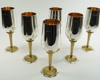 Sterling SILVER - Mid-Century Modern Devlin / Benney Style - Set of 6 Goblets