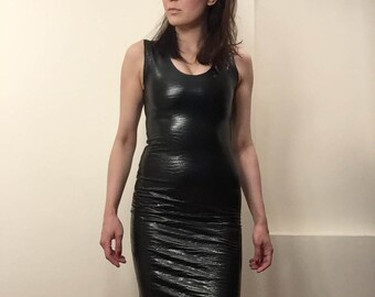 Black Croc Embossed Stertch Faux Leather Sleeveless Pencil Dress