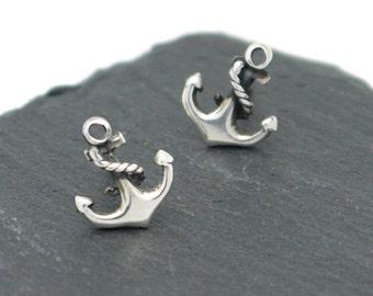 Silver Anchor Stud Earrings, 925 Sterling Silver Anchor Stud Earrings, Nautical Jewellery, Tattoo Jewellery
