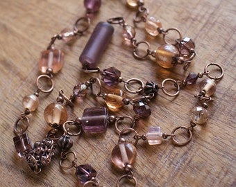 Peach Copper Mauve Beaded Necklace