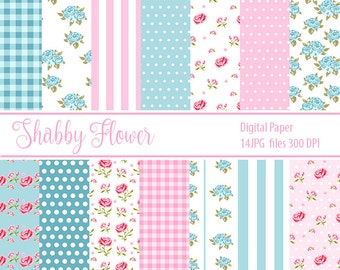 Shabby Chic Paper Scrapbook Paper Shabby Chic patterns Paper Floral Paper Flowers