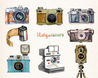 Camera, Watercolor camera, retro camera, Cameras, photocamera, film, vector clipart