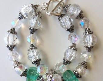 Crystal Sea Moss Beaded Bracelet