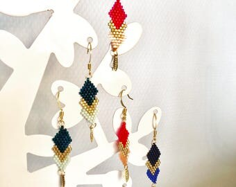Earrings dangle triangles three colors. handmade earrings. Miyuki brickstitch