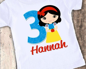 Snow White inspired custom designed birthday t shirt tshirt personalized