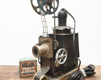 1920s Hand Cranked 35mm Home Silent Movie Projector with Box and Film