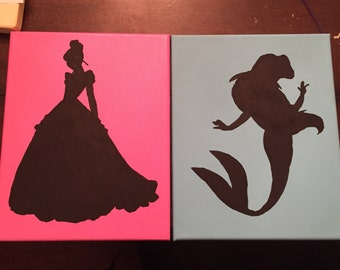 Princess Silhouettes on Canvas