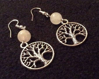 Earrings Tree of Life Rose Quartz