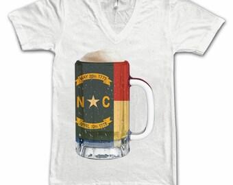 Ladies North Carolina State Flag Beer Mug Tee, Home State Tee, State Pride, State Flag, Beer Tee, Beer T-Shirt, Beer Thinkers, Beer Lovers T