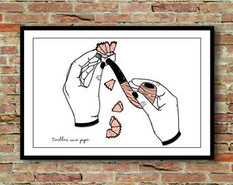 "Illustration a blow - series ""French expressions"". A4 