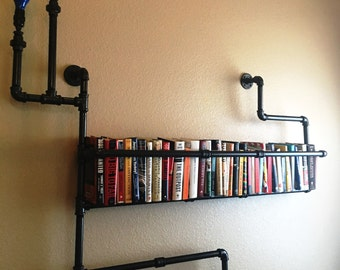 Industrial Pipe Bookshelf I Industrial Pipe Shelf I Industrial Pipe Decor