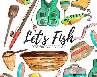 Fishing Clip Art - Watercolor Clip Art - Fish clip art -Doodle Clip Art - Hand Drawn Clip Art - Commercial Use