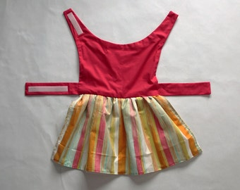 Dog dress; painted voile themed; light striped skirt; pink bodice; large dog sizes available