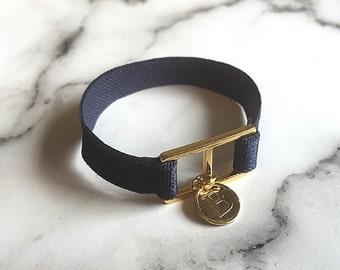 Navy Initial Banding Bracelet