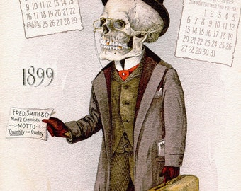 Doctor Skull Calendar Vintage Skeleton Anatomy Painting 8x10 Real Canvas Art Print