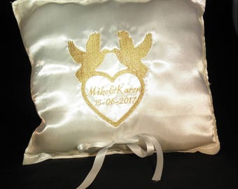 Personalized embroidered satin ring pillow matching with our cake topper models!