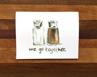 We Go Together Greeting Card; Love Greeting Card; Anniversary Greeting Card; Greeting Card for Her; Hand-Painted Greeting Card