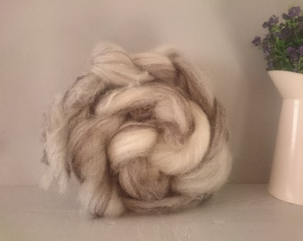 British Wool Roving - Jacobs 200g - hand prepared undyed Natural variagated - eco friendly wool batt - combed wool - single breed roving