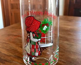 HOLLY HOBBIE Coca-Cola Collector's Christmas Glasses (3 types), vintage 1970s