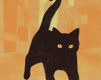 Large, giclee, print, 11x14, cat, black cat, Street cat