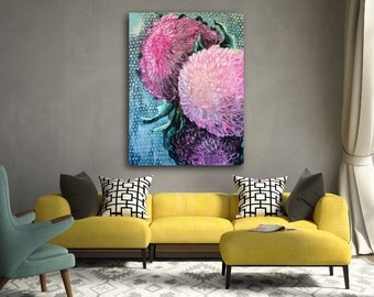 Large Original Acrylic Painting on Gallery Wrapped Canvas - Chrysanthemum