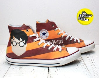 Harry Potter Gryffindor custom hi top converse all star handmade striped sneakers