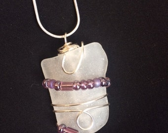 Beach glass/ Sea glass jewelry set (pendent,chain and earrings)