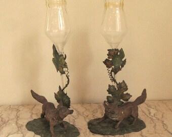 pair of vintage fox flower holders