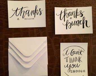 Handpainted Thank You Post Cards with Envelopes