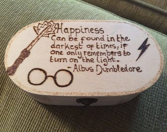 Harry Potter, Dumbledore Quote Wood burnt / Pyrography Wooden trinket / jewellery box, can be personalised. Great Gift