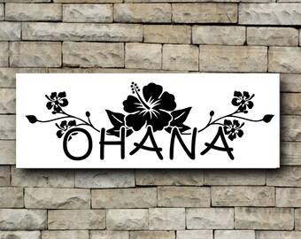 Ohana Hibiscus Flower vinyl decal