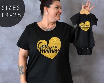 Godmother / Goddaughter Shirt Set, Godmother Plus Size Shirt, Plus Size Shirt, Gift for Godmother, Mama Bear, Baby Bear, Baptism Shirts