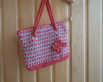 Crocheted bag with butterfly