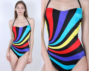 80s Striped Swimsuit // Vintage Psychedelic One Piece Bathing Suit Black Swim - Small