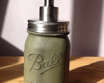 Ball Mason Jar Hand Painted Soap / Lotion Dispenser - Khaki Colour