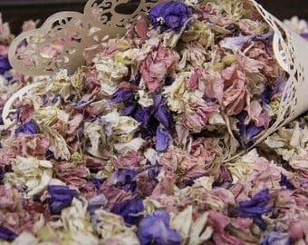 1 Litre Delphinium Dried Petals Confetti - Rainbow Mix
