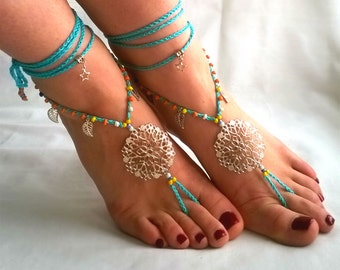 Blue Barefoot Sandals Barefoot Beach Jewelry mandala
