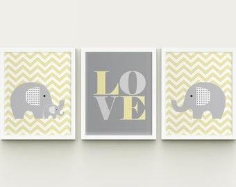 Elephant nursery printable wall art, chevron and elephant family, custom color baby room wall art decor download, LOVE nursery art
