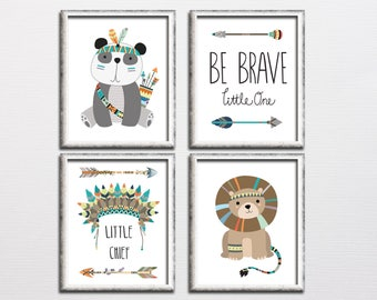 Boy nursery tribal printable wall art set be brave little one, little chief kids room lion panda tribal art, playroom wall decor download