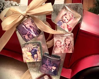 6 Custom Photo Magnets & Tin Letter