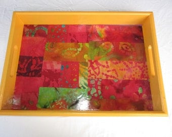 Decorative serving tray,Colorful and unique tray,wood tray with handles