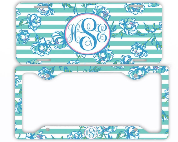 Mint Teal Stripes Flowers Monogram License Plate Front Car Tag