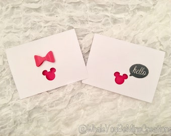 Simple plain Mickey and Minnie card set of 2! Also available in glitter bow!
