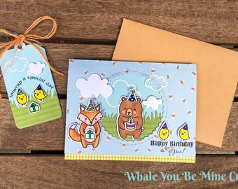 """Happy Birthday to you! Handmade card with matching """"Unwrap your special day"""" gift tag! A2"""