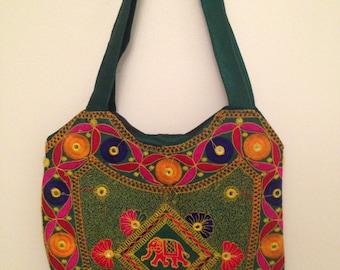 Dark green Women's Bohemian Handbag Gift for her colorful Fashion Elephant design Tote