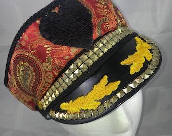 captain hat with  reversible sequin heart