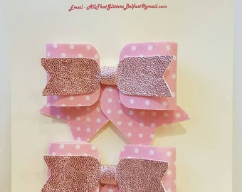 Handmade polkadot bow set