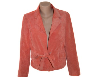 Vintage Stroke Collection pink women genuine leather jacket washable pig suede size 40