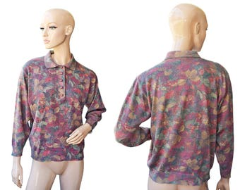 Vintage Aspa Tosca Lady Strick women top blouse pastel colors flowers wool Made in West Germany